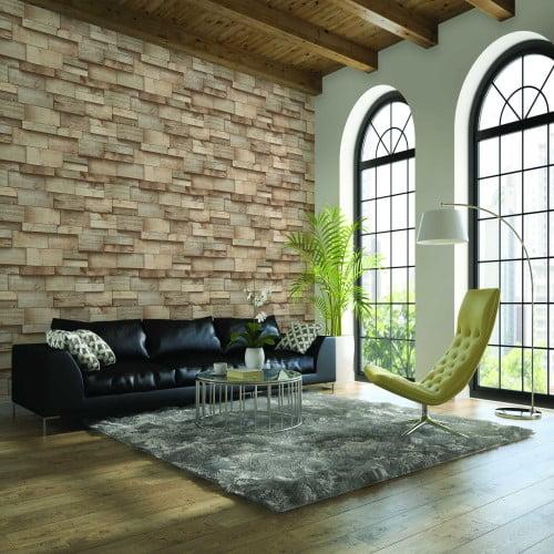 Giấy dán tường giả đá tạo điểm nhấn cho phòng khách