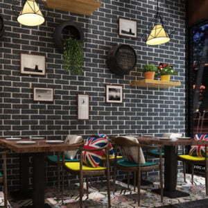 Giấy dán tường giả gạch cho quán cafe, homestay