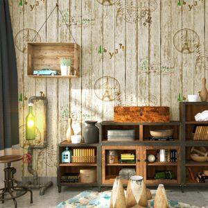 Giấy dán tường giả gỗ phòng ăn phòng bếp