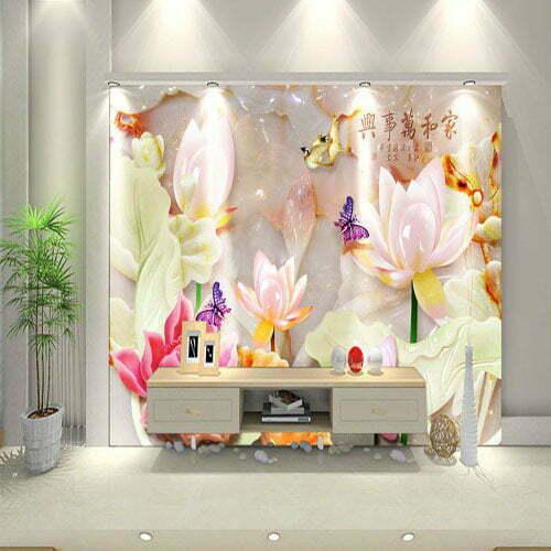 Tranh dán tường giả ngọc hoa sen sau Tivi