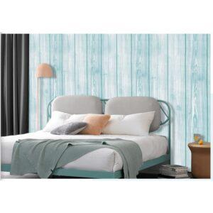 Giấy dán tường giả gỗ sau đầu giường phòng ngủ