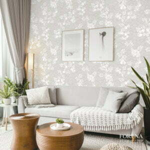 Giấy dán tường in hoa lá