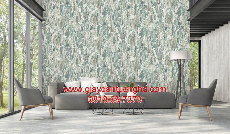 Thi công giấy dán tường giả đá sau sofa phòng khách