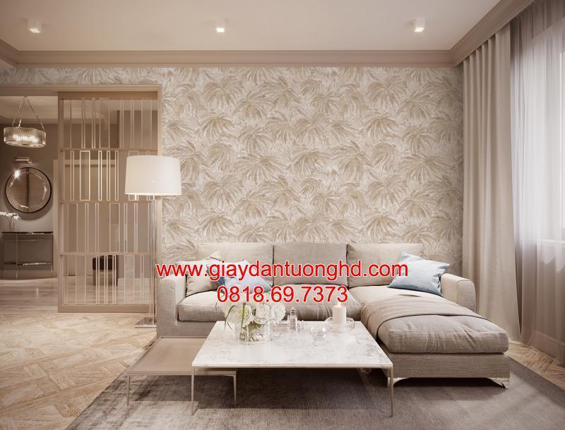 Mẫu giấy dán tường hoa lá cọ sau sofa phòng khách