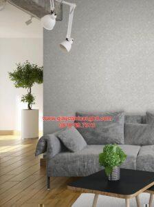 Thi công giấy dán tường màu xám caro