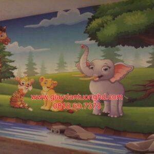Thi công giấy dán tường trẻ em-2